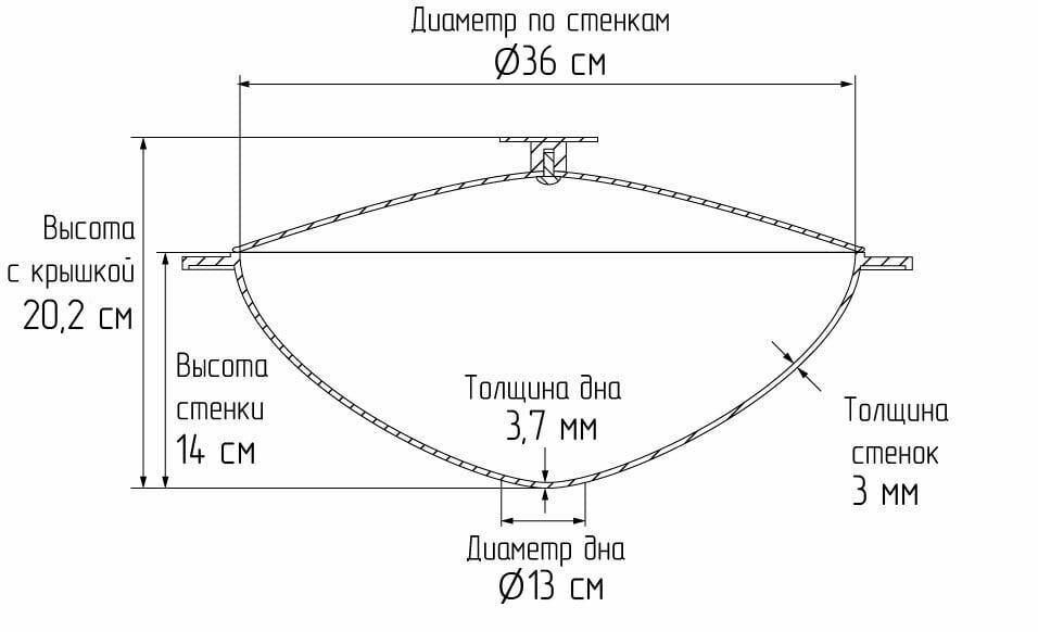 Чугунный казан татарский с алюминиевой крышкой и дужкой Биол 8 л 0908с схема
