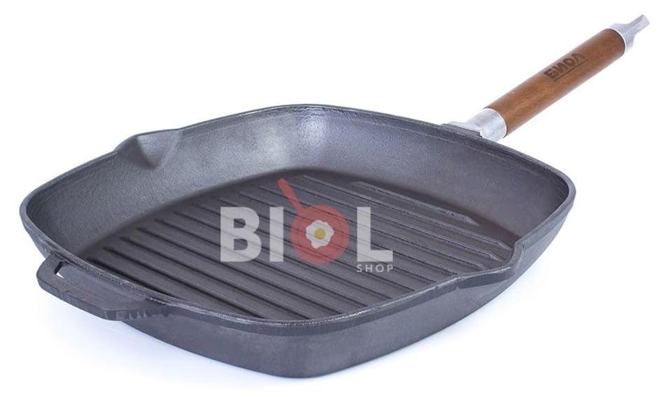 Чугунная сковорода гриль Биол со стеклянной крышкой 26 см 1026с