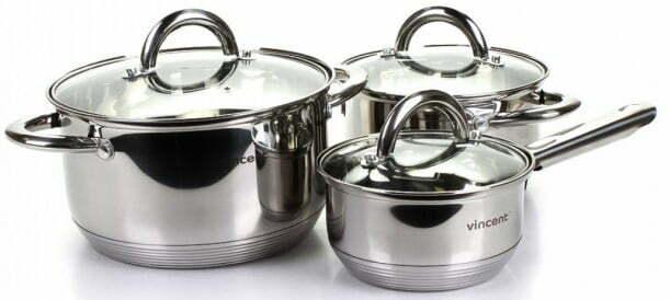 Набор нержавеющей посуды Vincent с крышкой VC-3028 купить недорого онлайн