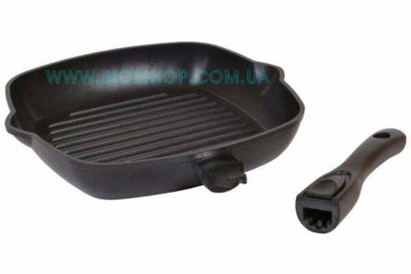 Тефлоновая гриль сковорода с отливами под масло купить недорого