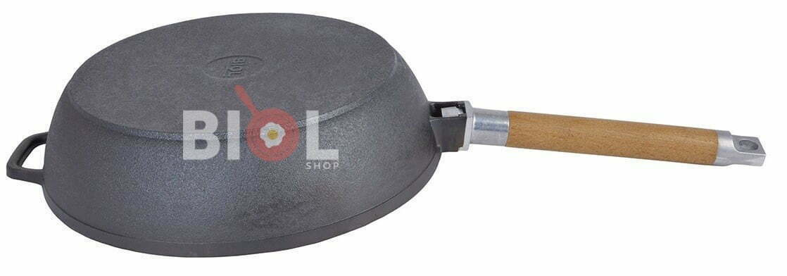 Сковорода чугунная 26 см Биол глубокая с крышкой и съемной ручкой купить онлайн