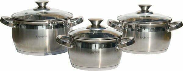 Набор нержавеющей посуды Lessner 1.7 л, 2.9 л, 3.9 л Apple 55859 купить недорого онлайн