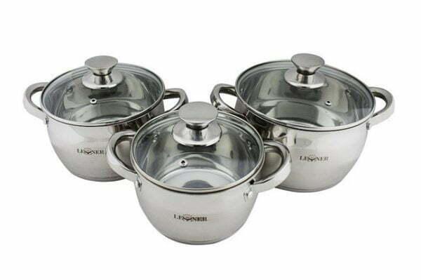 Набор нержавеющей посуды Lessner 1.7 л, 2.9 л, 3.9 л Apple