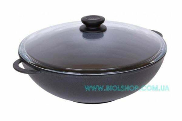Сковорода алюминиевая WOK Биол с крышкой 28 см купить онлайн