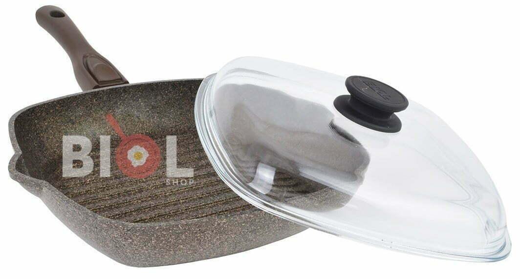 Сковорода-гриль антипригарная 28 см с крышкой купить онлайн