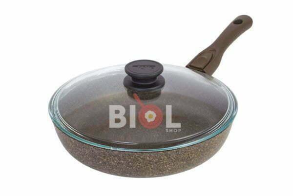 Тефлоновая сковорода 28 см Гранит-Браун с крышкой Биол заказать