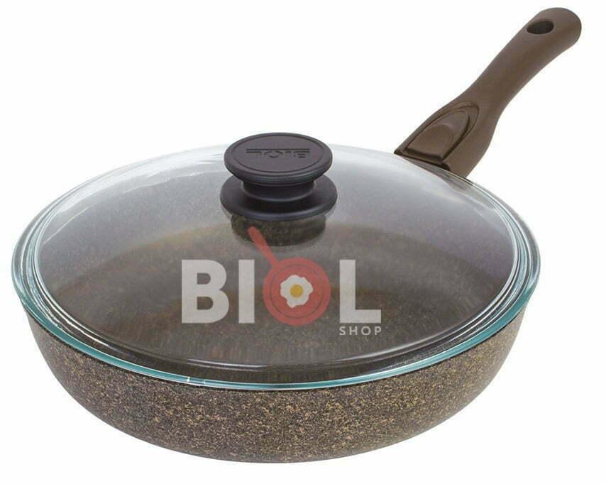 Тефлоновая сковорода 24 см Гранит-Браун заказать с доставкой по Украине