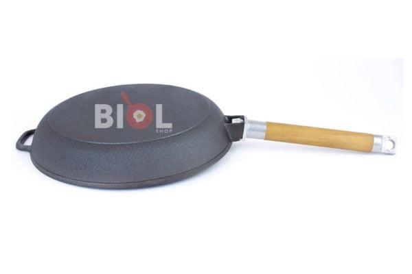 Сковорода низкая Биол съемная ручка и стеклянная крышка 20 см 0120с