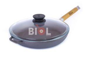 Сковорода низкая Биол со съемной ручкой