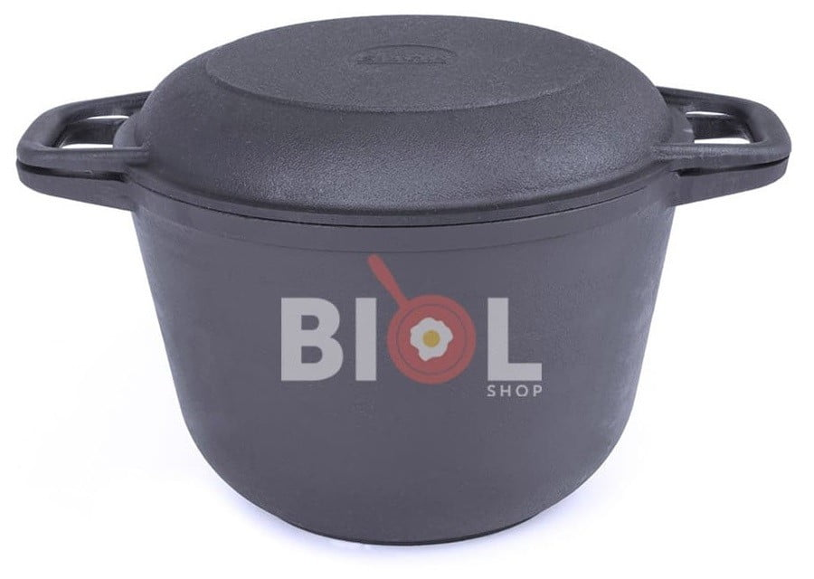 Чугунная кастрюля с крышкой-сковородой Биол 4 л 0204