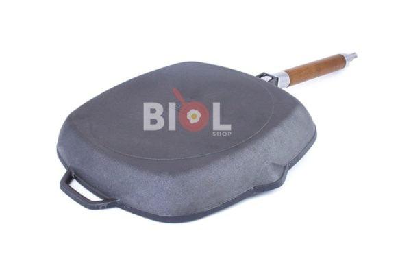Чугунная сковорода гриль Биол со стеклянной крышкой 26 см купить онлайн