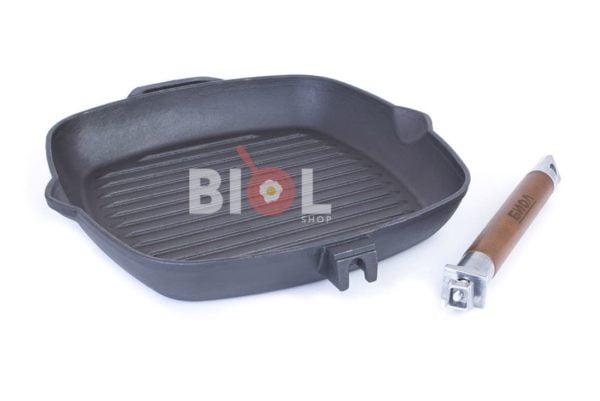 Чугунная сковорода гриль Биол со стеклянной крышкой 26 см