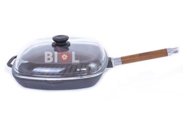 Сковорода чугунная гриль Биол со стеклянной крышкой 26 см купить дешево