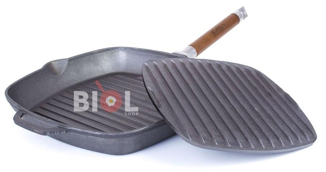 Чугунная сковорода гриль Биол с крышкой прессом 24 см 1024