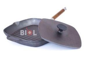 Литая гриль сковородка с крышкой-прессом Биол 260 мм