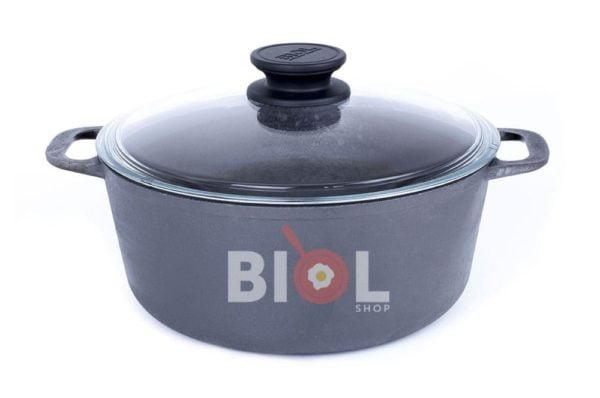 Чугунная кастрюля Биол со стеклянной крышкой 5 л.