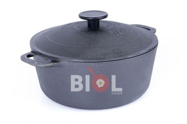 Чугунная кастрюля с крышкой Биол 3 л 0803 лучшая цена