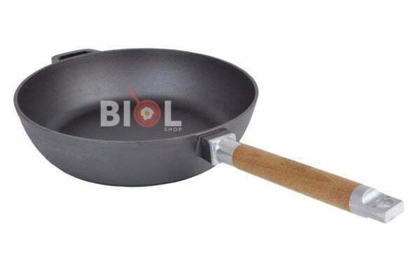 Глубокая сковорода со съемной ручкой и крышкой 24 см Классик Биол низкая цена