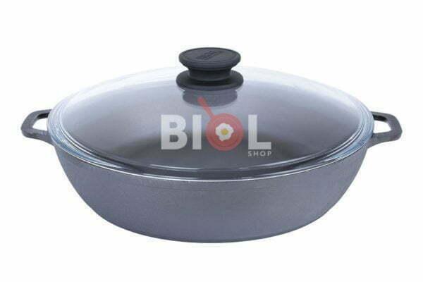 Чугунная жаровня Биол с 2 ручками и стеклянная крышка 03281с