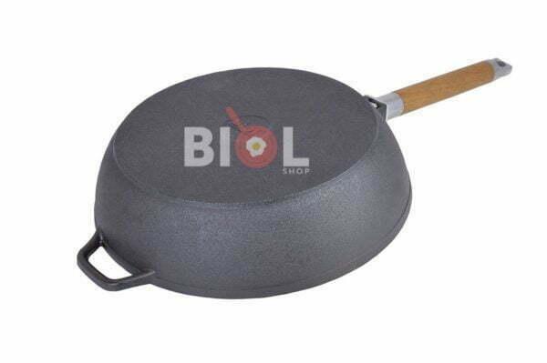 Сковорода чугунная Классик Биол 24 см глубокая с крышкой и ручкой 0324с