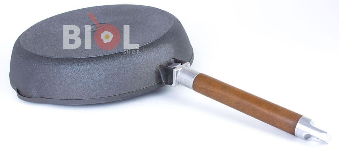 Чугунная высокая сковорода Биол со съемной ручкой 24 см