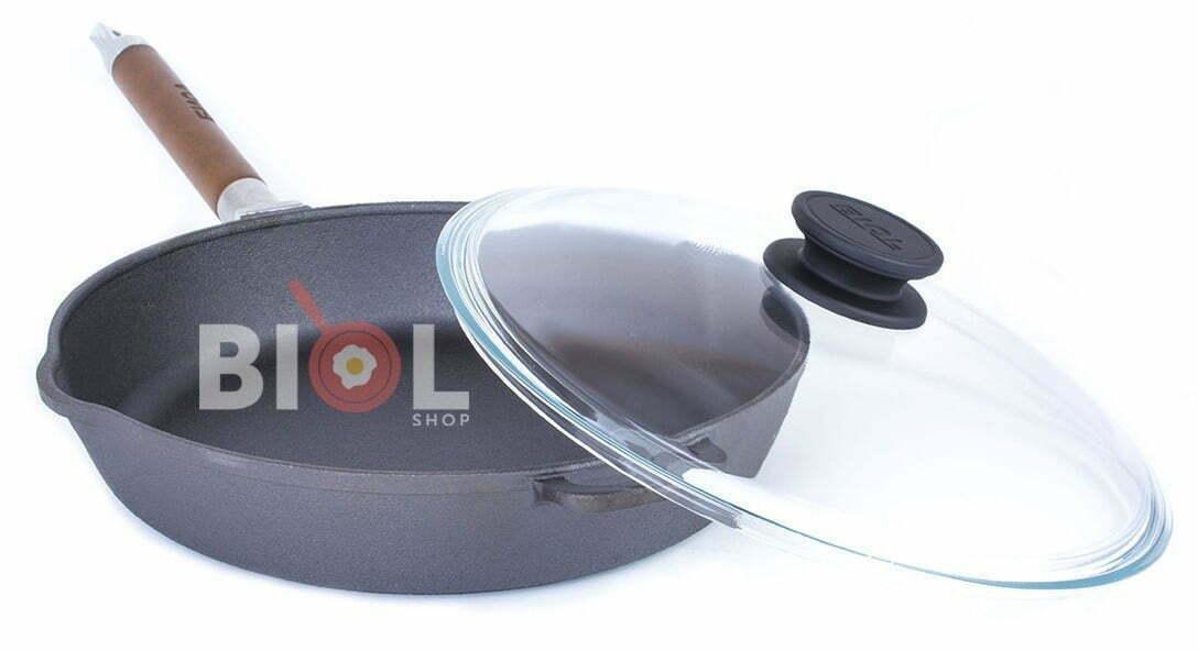 Сковорода чугунная Биол высокая со стеклянной крышкой и съемной ручкой 28 см.