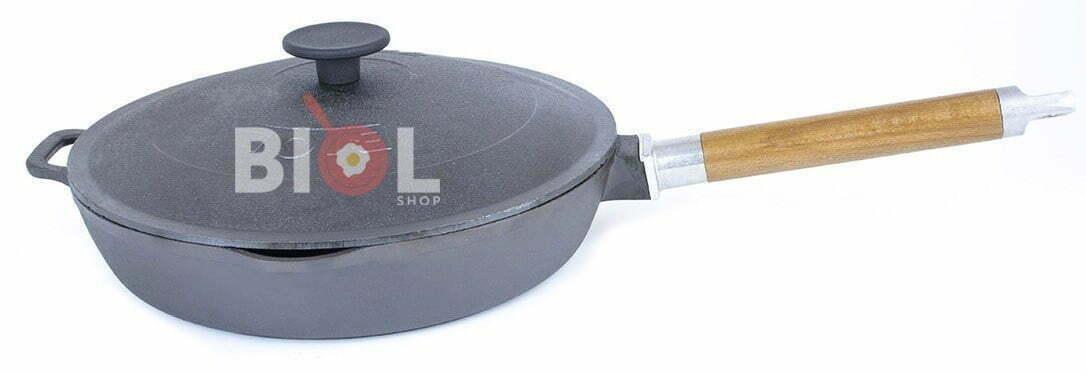 Чугунная сковорода высокая Орион с крышкой и съемной ручкой 26 см