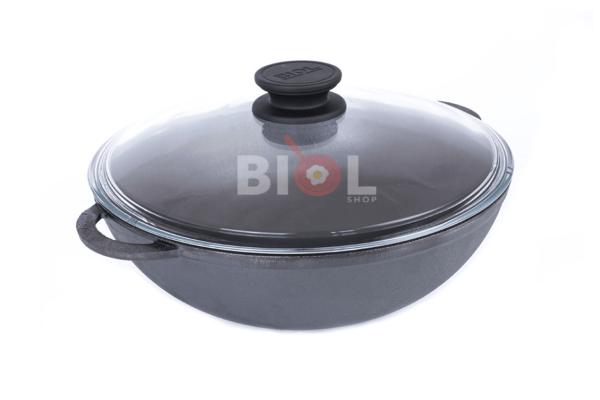 Чугунная WOK сковорода со стеклянной крышкой Биол 26 см купить онлайн