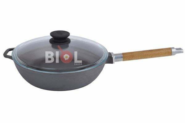 Сковорода чугунная Классик Биол 24 см глубокая с крышкой и ручкой недорогая цена