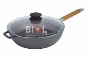Глубокая сковорода Биол чугунная с крышкой и съемной ручкой