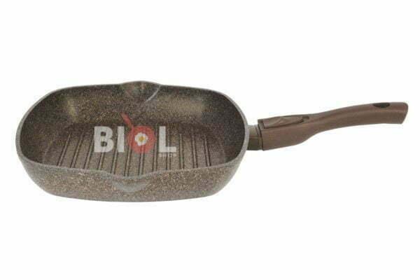 Сковорода гриль антипригарная 26 см Гранит браун Биол 26143П