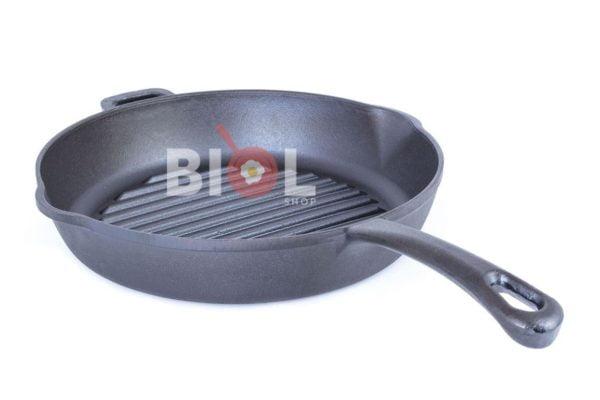 Круглая чугунная сковорода гриль с ручкой 26 см Биол купить