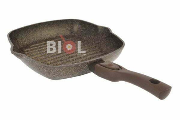 Сковорода-гриль 26 см Гранит-Браун Биол тефлоновая низкая цена