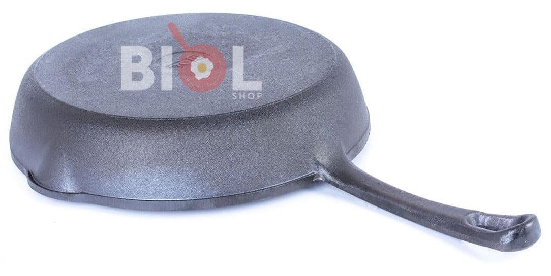 Сковорода гриль чугунная круглая Биол с металлической ручкой 28 см 1128