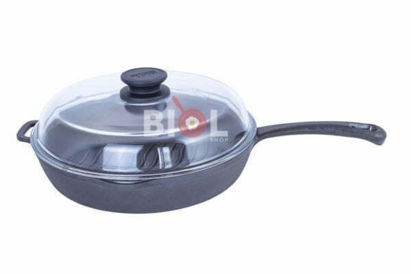 Круглая сковорода гриль чугунная Биол с крышкой 24 см заказать онлайн