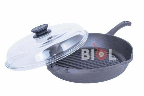 Круглая сковорода гриль чугунная Биол с крышкой 24 см купить