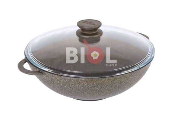 Сковорода антипригарная Вок Биол со стеклянной крышкой заказать