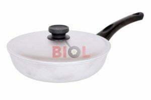 Алюминиевая сковорода 28 см Биол рифленая с крышкой А281