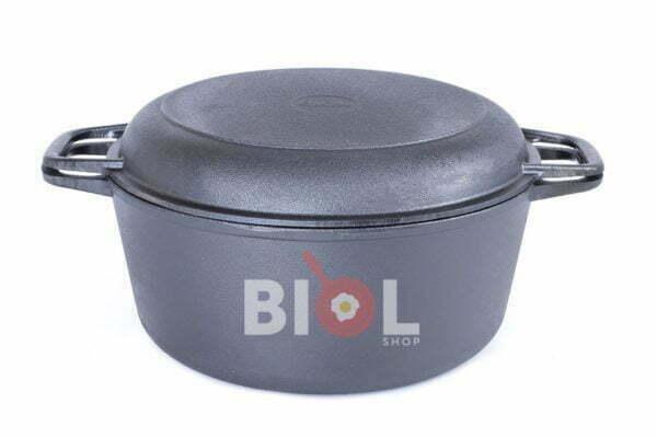 Чугунная кастрюля с крышкой-сковородой Биол 5 л