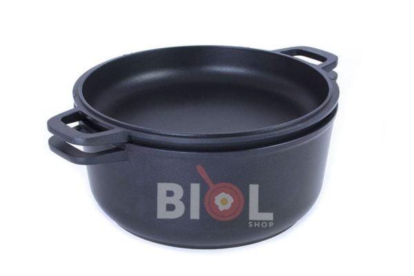 Кастрюля алюминиевая Биол с крышкой-сковородой 5 л К502П