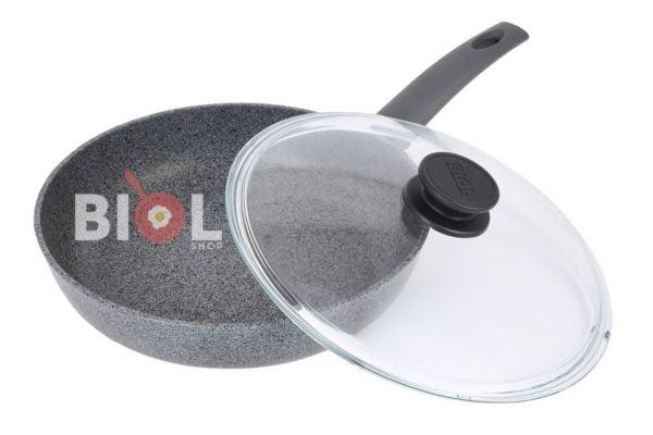 Антипригарная сковорода 26 см Гранит-Грей со стеклянной крышкой Биол