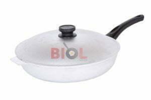 Сковорода алюминиевая рифленая с крышкой 30 см Биол А302