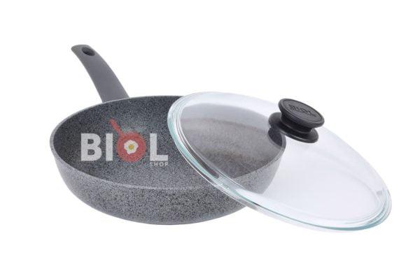 Антипригарная сковорода 26 см Гранит-Грей со стеклянной крышкой Биол заказать онлайн
