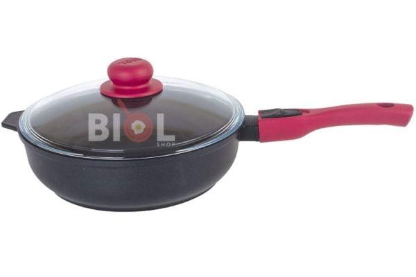 Антипригарная сковорода Титанал с крышкой 24 мм Биол купить онлайн
