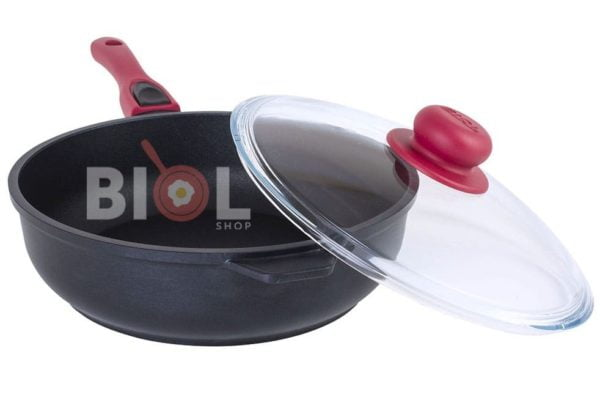 Сковорода антипригарная 26 см с крышкой и ручкой Титанал Биол