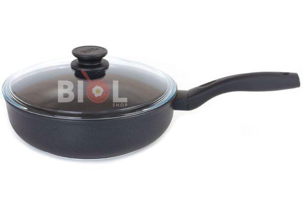 Тефлоновая сковорода с крышкой 24 см Элегант Биол