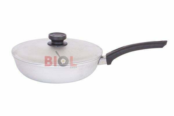 Алюминиевая сковорода 22 см Биол с ручкой и крышкой