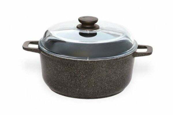 Набор из сковороды гриля и кастрюли Гранит Браун с крышкой дешево
