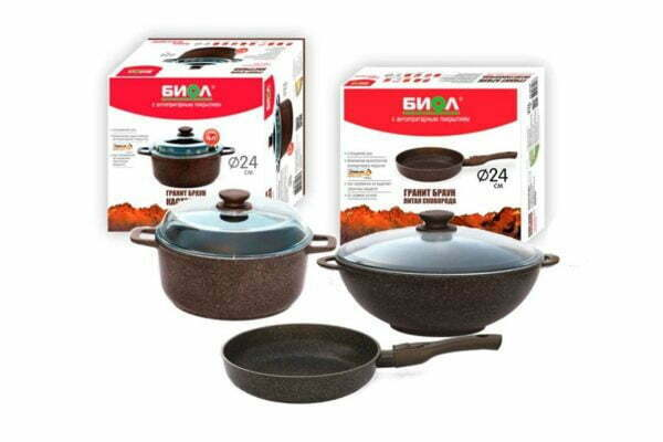 Набор из сковороды ВОКа и кастрюли Гранит Браун (24 см, 28 см и 4 л с крышками) купить