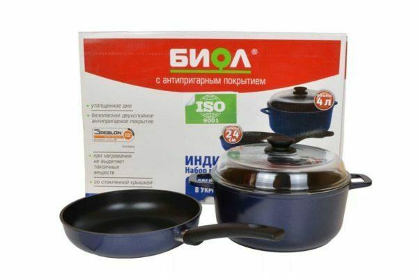 Кастрюля и сковорода БИОЛ в наборе Индиго (220 мм и 3 л) И22ПС